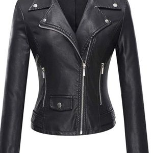 Jackets & Blazers - New Tanming Women's Faux Leather Moto Biker Jacket